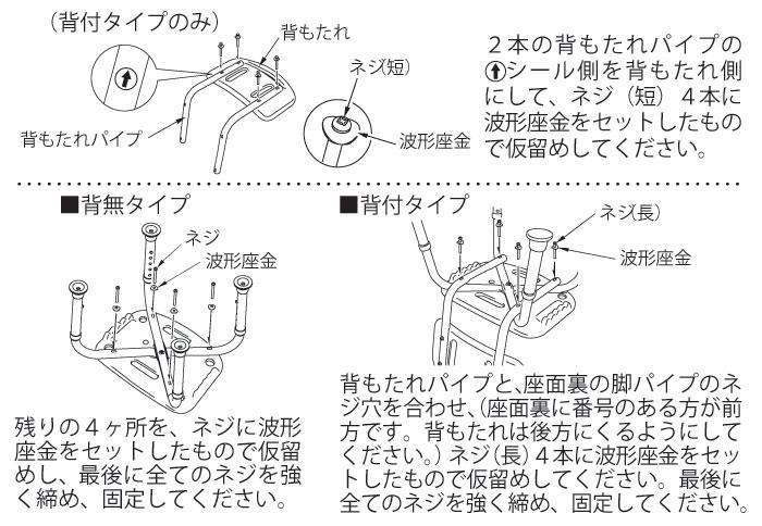 テイコブシャワーチェア(背付)BSOC01の組み立て方