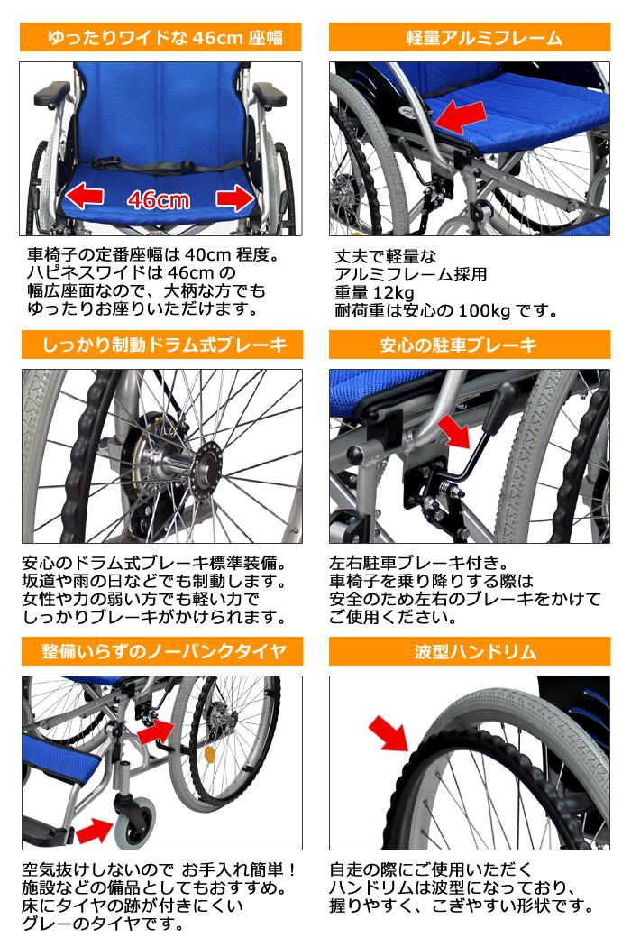 自走式車椅子ハピネスワイドCA-15SU 10のポイント